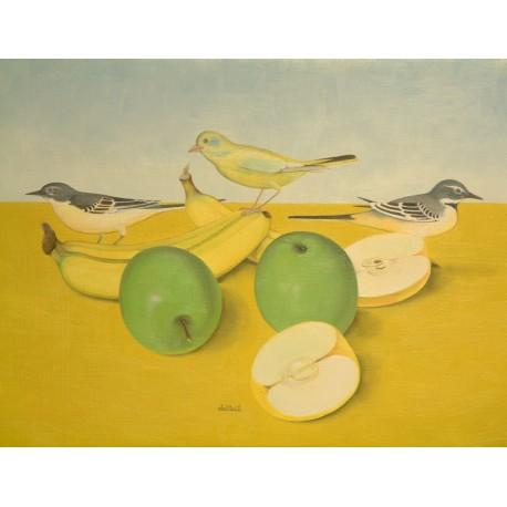 Birds Perched on Banana