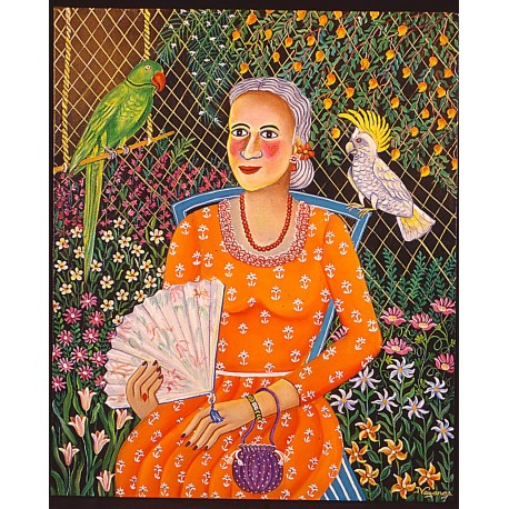 A Lady with parrot